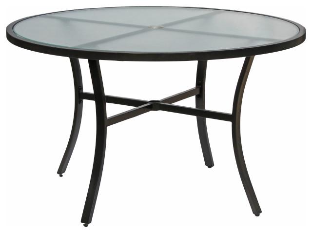 Rio Brands Sienna Metal Gray Round, Round Glass Patio Table