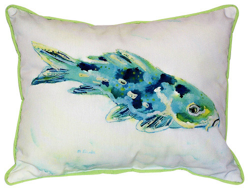 Betsy Drake Blue Koi Fish Pillow- Indoor/Outdoor - Beach Style ...