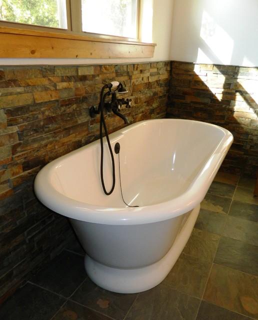 Volcanic limestone bathtub - Modern - Dallas - by Wright-Built