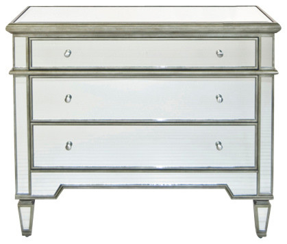 Worlds Away Cary Silver Mirrored Chest Traditional