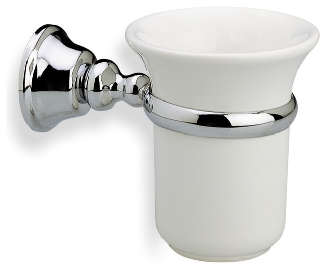 Wall Mounted White Ceramic Toothbrush Holder With Brass