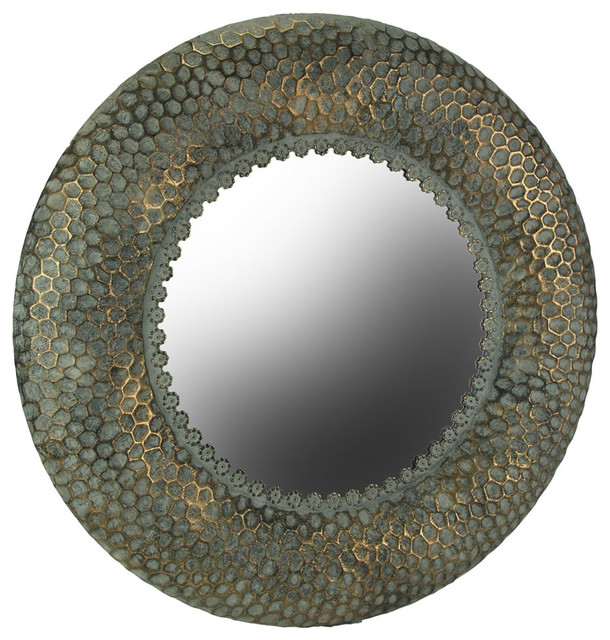 Antique Bronze Finished Honeycomb Pattern Embossed Metal Wall Mirror. -2