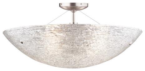 Galina Incandescent Semi-Flush Mount Light, Satin Nickel.