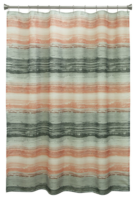 Portico Coral Fabric Shower Curtain