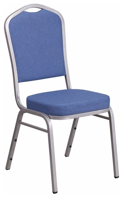 Groovy Offex Crown Back Stacking Banquet Chair With Blue Fabric And Silver Frame Creativecarmelina Interior Chair Design Creativecarmelinacom