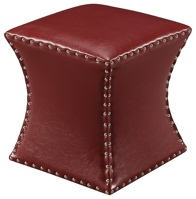 Outstanding Square Nailhead Trim Faux Leather Upholstered Square Stool Ottoman 15 Red Caraccident5 Cool Chair Designs And Ideas Caraccident5Info