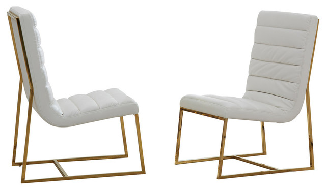 Awesome Luna Leather Dining Side Chairs Set Of 2 Gold Off White Unemploymentrelief Wooden Chair Designs For Living Room Unemploymentrelieforg