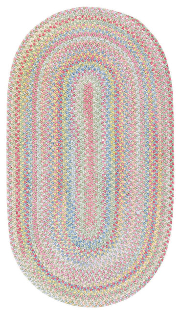Baby&x27;s Breath Braided Oval Rug, Light Green, 5&x27;x8&x27;.