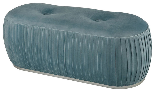Bonnie Benches, Duck Egg Blue Velvet And Silver.