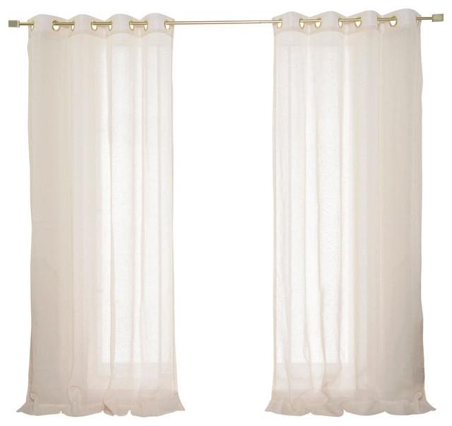 "Faux Linen Gold Grommet Curtains, Ivory, 52""x84"", Set Of 2."