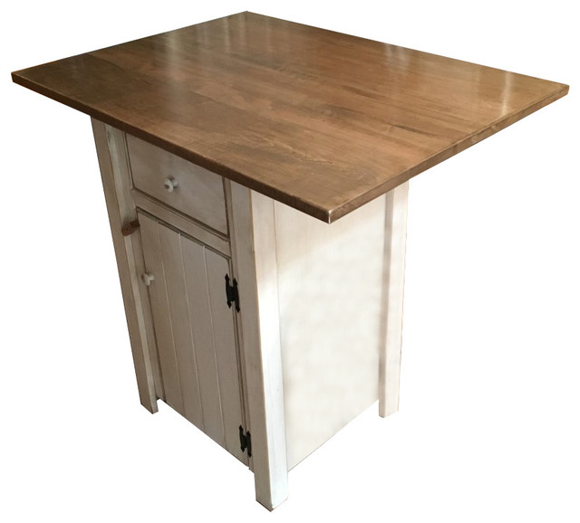 Rustic Pine Small Kitchen Island With 1 Drawer