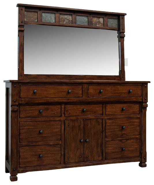 Prescott 9-Drawer 2-Door Dresser, Dark Chocolate.