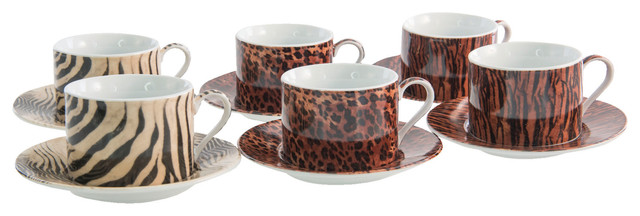 Safari Tea Cup and Saucers, Set of 6