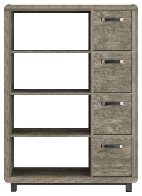 Springhurst Bookcase With Bins, Weathered Oak