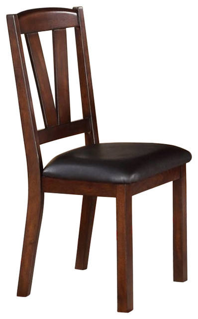 Solid Wood Leather Seat Side Chairs Brown, Set Of 2.