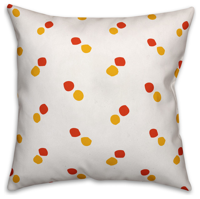 Polka Dots Red And Yellow Throw Pillow