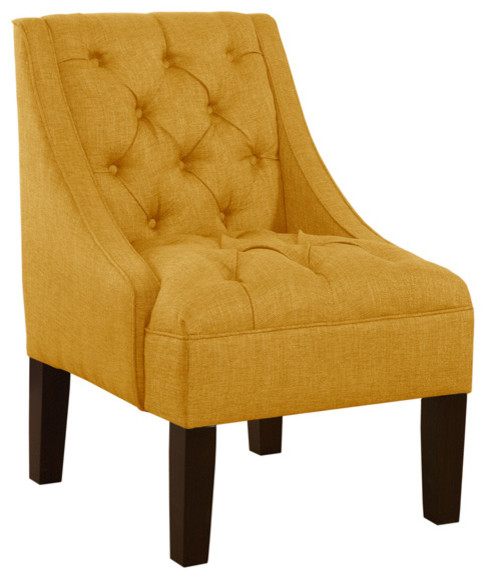 Skyline Tufted Swoop Upholstered Chair Linen French