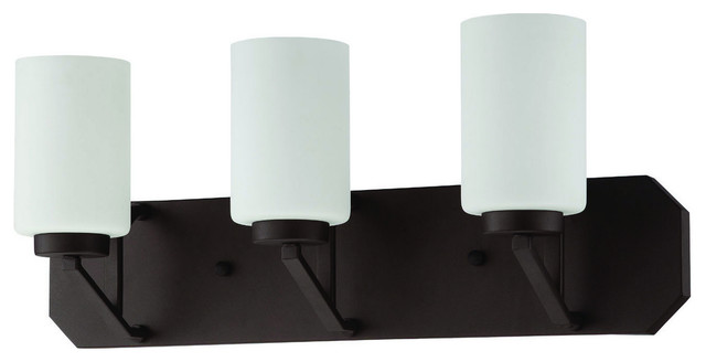 Milk Glass Bath Light: Axiom Three Light Bath Vanity Blackened Bronze Frosted