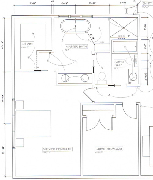 Master Bathroom Plans With Two Toilets two baths and a master - layout dilemma
