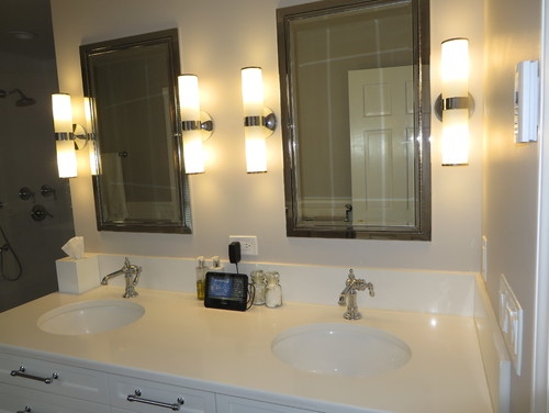 Bathroom Side Sconces need advice on best mirror/sconce option in small master bath