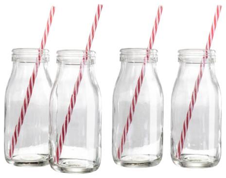 Retro Milk Bottles, Set of 4