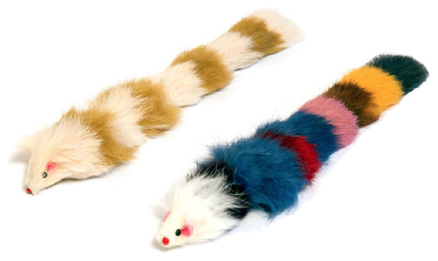 Brown and white bathroom decor - Fur Weasel Toys Set Of 2 Contemporary Cat Toys By