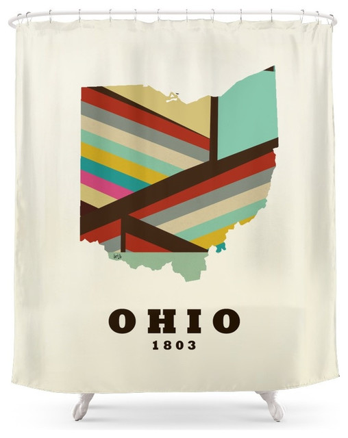 society6 ohio state map modern shower curtain. Black Bedroom Furniture Sets. Home Design Ideas