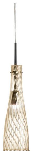 Georgia 1-Light Elongated Glass Pendant, Champagne.