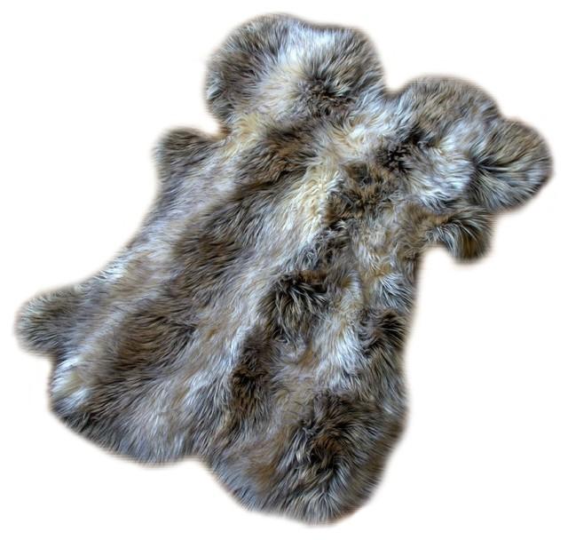 Faux Fur Pelt Gray Stripe Wolf Throw Rug