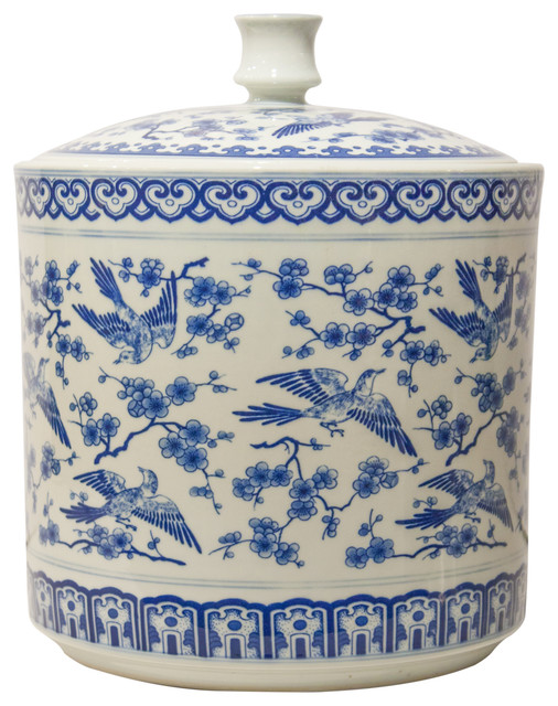 Bird Covered Jar Blue And White Asian Kitchen