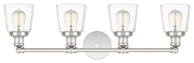 Union 4-Light Bath Fixture With Clear Glass Shade, Polished Nickel