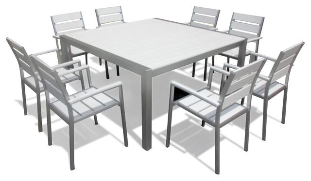 Outdoor Patio Furniture Modern Aluminum 9 Pc Square Dining Table And Chairs Set