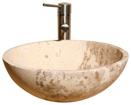 V-Vr166 Sahara Limestone Honed Vessel Sink.