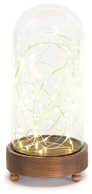 Mini Led String Lights In Glass Dome, Set Of 2, Brown.