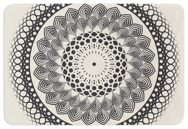 Famenxt Black and White Boho Mandala Geometric Memory Foam Bath
