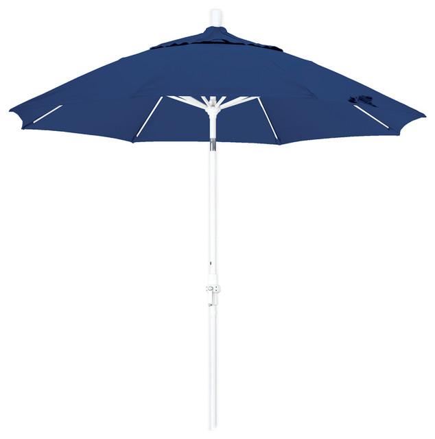 Superieur 9 Foot Olefin Fabric Crank Lift Tilting Aluminum Patio Umbrella With White  Pole