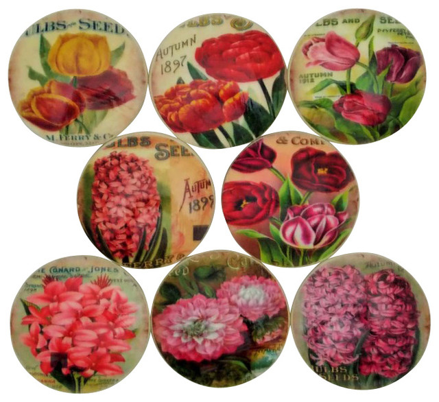 Vintage Flower Seed Catalog Oversized Cabinet Knobs, 8 Piece Set  Traditional Cabinet