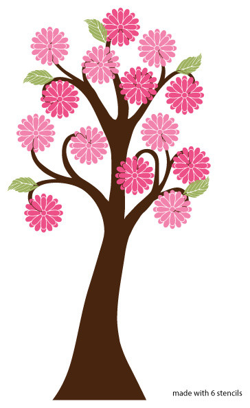 Giant Flowering Tree Wall Stencil For Painting