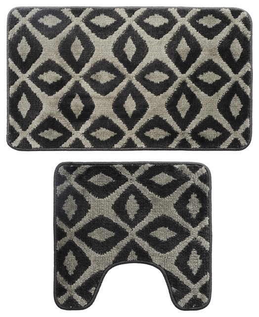 2 Piece Black and Gray Geo Design Bath Mat Set