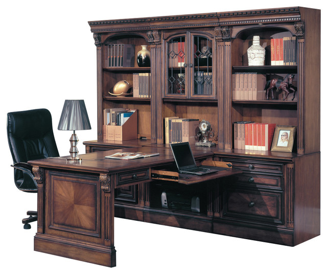 Huntington Office Peninsula Desk Wall Unit, 7 Piece Traditional Desks And