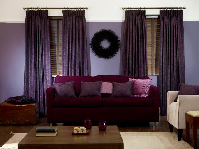 Florence Royal Purple Curtains Traditional Living Room