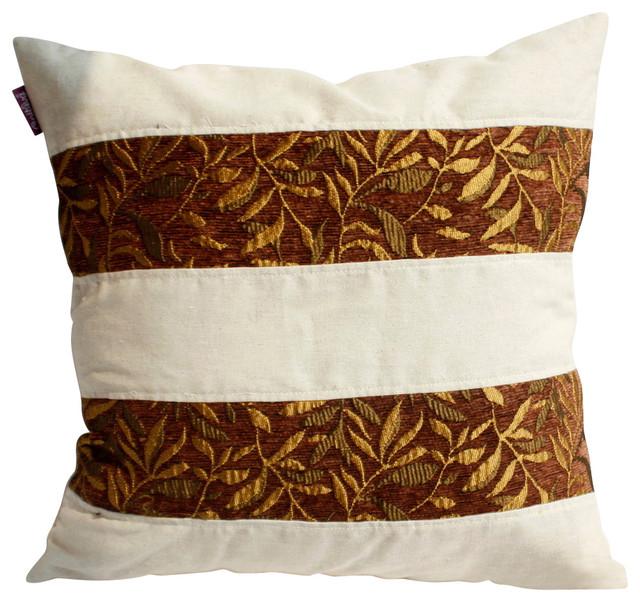 "Gold Autumn Linen Stylish Patch Work Pillow Floor Cushion 19.7""x19.7"""