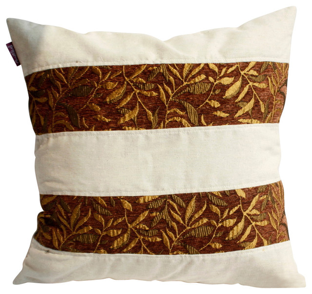 "Gold Autumn Linen Stylish Patch Work Pillow Floor Cushion 19.7""x19.7"" midcentury-floor-pillows-and-poufs"