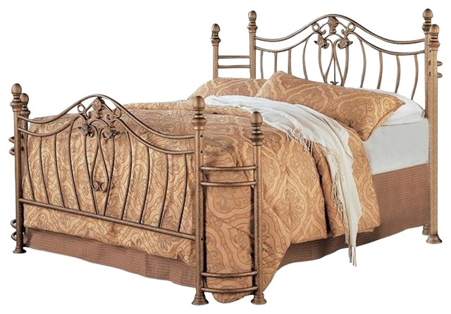 sports shoes 4c4a8 9fb23 Queen Size Metal Bed With Headboard And Footboard In Antique Brushed Gold  Finish