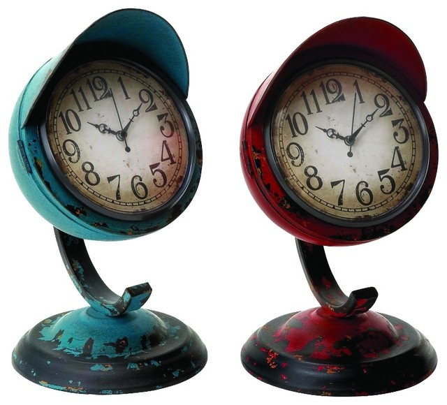 Old Fashioned Set Two Table Clocks Blue Red Metal Frames Home Decor