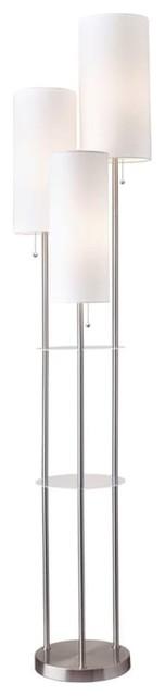 Trio Floor Lamp, Brushed Steel.