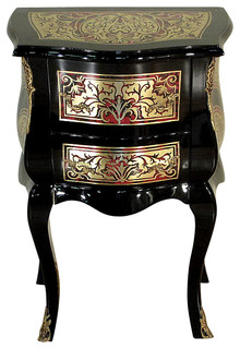 Consigned Vintage French Black Boulle Chest Nightstand Side Table