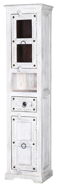 "Winter White Tudor Reclaimed Wood 74"" Curio Cabinet."
