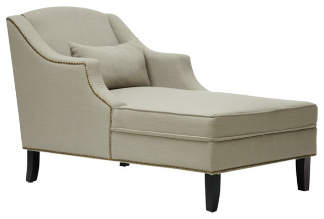 Asteria Putty Gray Linen Modern Chaise Lounge, Gray.