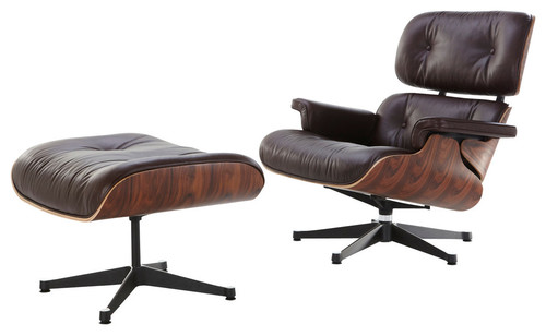 Midcentury Modern Lounge Chair and Ottoman, Brown, Palisander, Aniline Leather